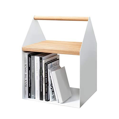 yunic Tiny House Beistell-Ablage-Tisch mit Stauraum-Fach aus Metall, Holz-Tisch Hevea (Kautschukbaum), weiß, Sofa-Tisch für Wohnzimmer, H 54,4 cm, T 35 cm, L 40,5 cm