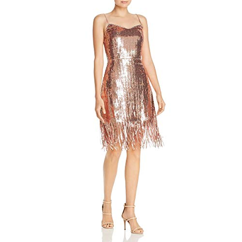 LAUNDRY BY SHELLI SEGAL Metallic Cocktail Dress Rose Gold 10