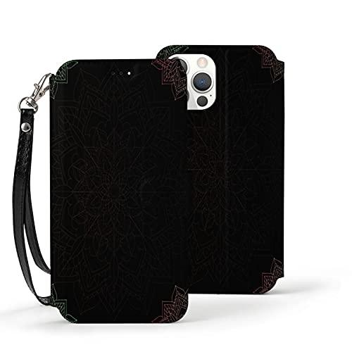 Funda para iPhone 12,Funda Tipo Cartera para iPhone 12 con Tarjetero,Arabesco Abstracto sobre Negro,Funda Protectora Interior de TPU a Prueba de Golpes para iPhone 12 de 6.1 Pulgadas