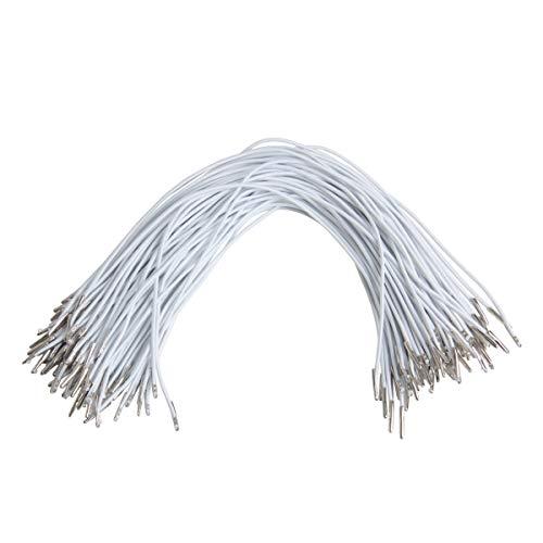 yalansmaiP Elastic Cord Stretchy String, 120pcs 2mm Elastic Barbed Cord Stretch Round String for Bracelets Necklace Beading Sewing (2mm, 30cm, White)