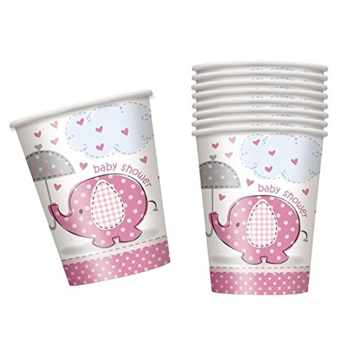 Review MA ONLINE Kids Paper UmbrellaPhants Girl Shower Boy Cups Baby Party 9 OZ Pack 8 Accessory Pink