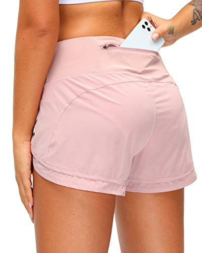 Women's Running Shorts with Zipper Pocket 3 Inch Quick-Dry Workout Athletic Gym Shorts for Women Sliver Pink