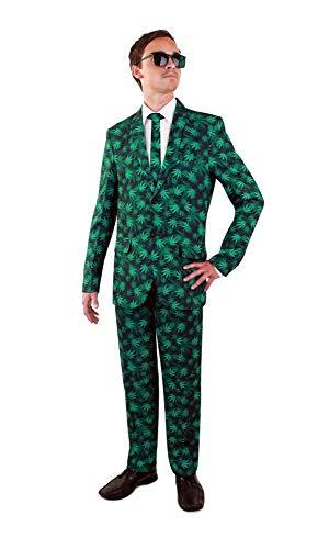 shoperama Disfraz de hojas de camo para hombre con corbata, chaqueta de chaqueta, pantaln marihuana con estampado de cannabis, carnaval, JGA, tamao: 50