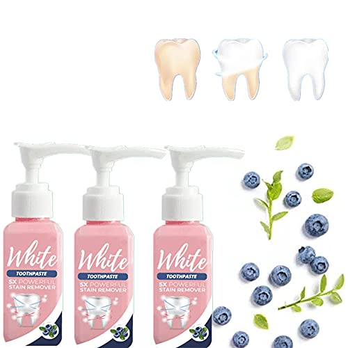 All Day White Stain Removal Toothpaste, Blueberry Whitening Toothpaste, Baking Soda Fruit Blueberry Toothpaste, Gel Fluoride-Free Press, Toothpaste Fight Bleeding Gums Toothpaste(100ml ,3pcs)