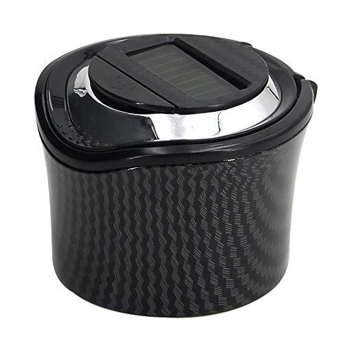 Cenicero de coche con luz y cubierta Tuyere Creative Mini Car Ash Car Auto suministros de interior (Nombre del color: N15B fibra de carbono)