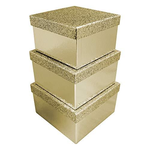 Clairefontaine X-27984-BXC - Set mit 3 Boxen viereckig, mit Glittereffekt (1 Box: 18 x 18 x 10,8cm, 1 Box: 20 x 20 x 13,2cm, 1 Box: 22 x 22 x 13,2cm), 1 Set, Gold
