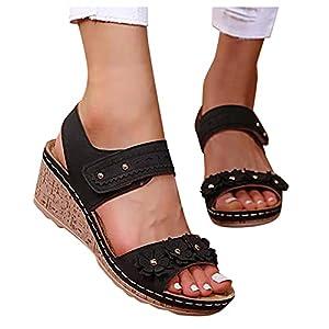 Aniywn Wedge Sandals for Women Open Toe Comfy Platform Wedge Sandals Ladies Outdoor Casual Summer Slip On Walking Shoes Black
