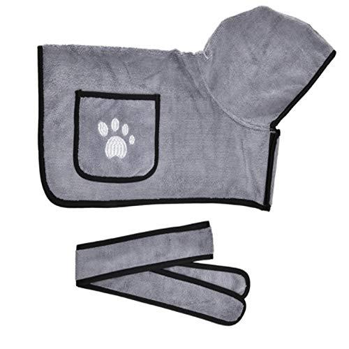 Toallas de baño para Perros o Gatos pequeños y medianos Microfiber Super Absorption-Grey_XS