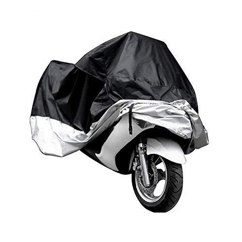 Motorrad Abdeckplane, Allwetter Motorradabdeckung im Freien Wasserdicht, staubdicht, UV-Schutz, atmungsaktiv, mit winddichtem Gurt, für alle Motorrad Motorroller Grau XXL