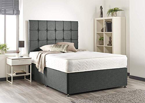 Grey Linen Look Divan Bed-Headboard-2 Drawer-Mattress-3ft-4ft-4ft6-5ft-6ft-(5ft King Size, Memory Foam Mattress 8')