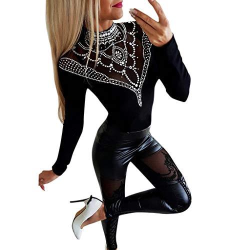 FRAUIT Damen Skinny Spitze Lederhose Stretch Schwarz Freizeithose Slim Fit Lace Stickerei Lange Hosen Patchwork Leder Leggings Mode Pants Wunderschön Design Streetwear S-XL