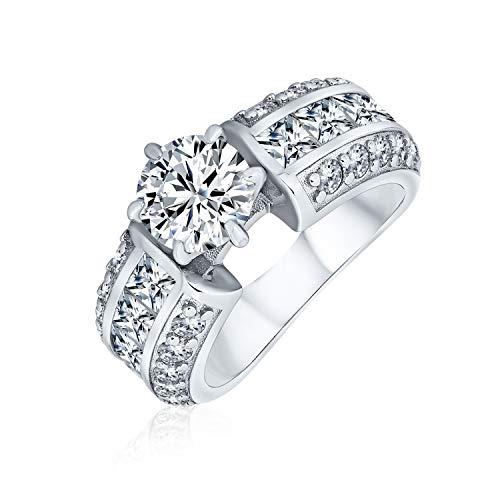 Bling Jewelry Art Deco Estilo 2CT Redondo Brillante Corte AAA CZ Solitario Anillo de...