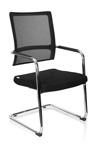 hjh OFFICE 790016 Freischwinger Stuhl VARO V Stoff/Netz Schwarz Besucherstuhl Konferenzstuhl gepolstert, Metallgestell