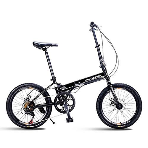 MYERZI Absorción de Impacto Bicicleta bicicleta de montaña bicicleta plegable unisex 20 pulgadas pequeña rueda de bicicleta portátil 7 Velocidad de bicicletas (Color: blanco, tamaño: 150 * 30 * 60 cm)