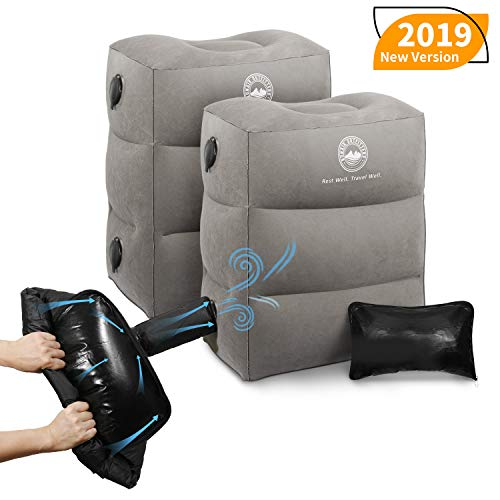 BONAIR OUTFITTERS Upgraded with Pump (1x) Inflatable Travel Foot Rest Pillow | Kids Airplane Bed to Sleep | Adjustable Height Leg Pillow | Best Kids Travel Accessories for Air (2, Grey with Pump)
