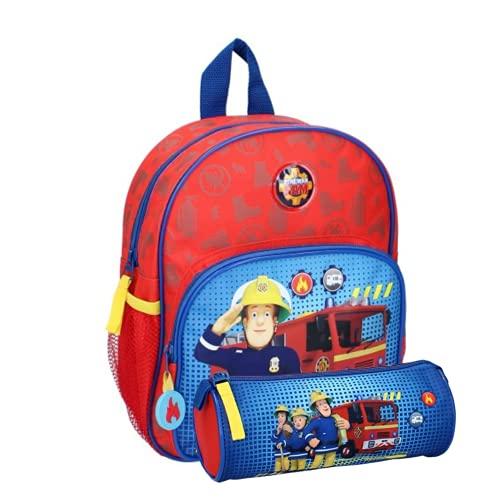 Sam il pompiere - Zaino per bambini, per asilo, 28 x 22 x 9 cm, con astuccio