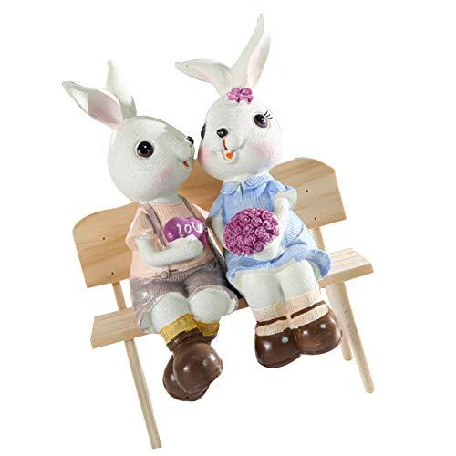 Appoo Conejos De Pascua Decoracion Escultura De Estatua Resina Conejo Estatuillas Figura De Conejo Artesana Micro Paisaje Modelo para Decoracin DeJardn Decoracin del Hogar Clever