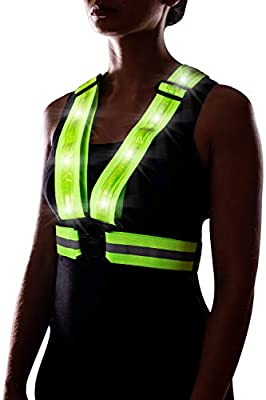 LED Reflective Vest for Running or Cycling USB Rechargeable, High Visibility Safety Vest for Construction, Running Lights for Runners, Motorcycle Vest, Adjustable Reflective Running Gear (Neon Green)