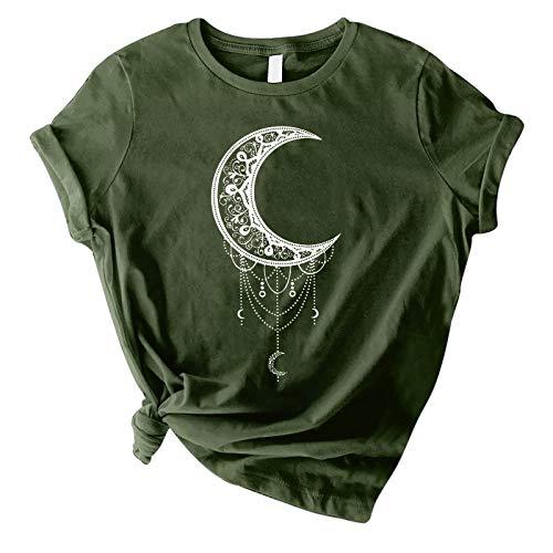 WANGTIANXUE Camisa de manga corta para mujer, camiseta de verano, vintage, con estampado de sol y luna, para hombre y mujer, ropa de calle deportiva, básica verde XL