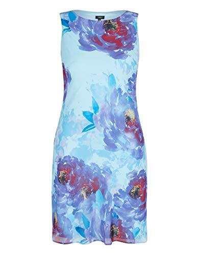 Bexleys Woman by Adler Mode Damen Kleid in fließender Chiffonqualität türkis/lila/weinrot/gelb/schwarz 46