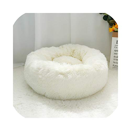 Warm Dog Cat Bed Soft Fleece Round Pet Cushion Mat for Small Medium Large Dogs Cat Long Plush Winter Dog Kennel Puppy Bed Sofa,White,Diameter 70cm