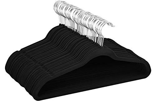 Yaheetech Samt Kleiderbügel Garderobenbügel 100 Stück Anzugbügel rutschfeste Oberfläche Wäschebügel mit 360° drehbarem Haken Schwarz