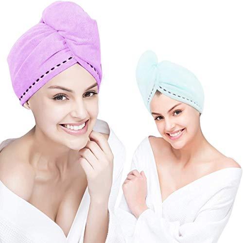 No branded Wrap Cap Douche Cheveux Cheveux Serviette Microfibre Wrap Super Rapide Absorbent Sec Turban séchage bouclés Long Cheveux épais Bain Cap Wraps Séchage (Color : Violet Clair, Size : 26x62cm)