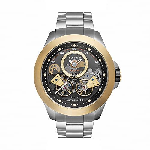 Nubeo Voyager NB-6013-11 - Reloj mecánico para hombre, 2 manos con corazón abierto y segundo, esfera negra y pulsera sólida de acero inoxidable