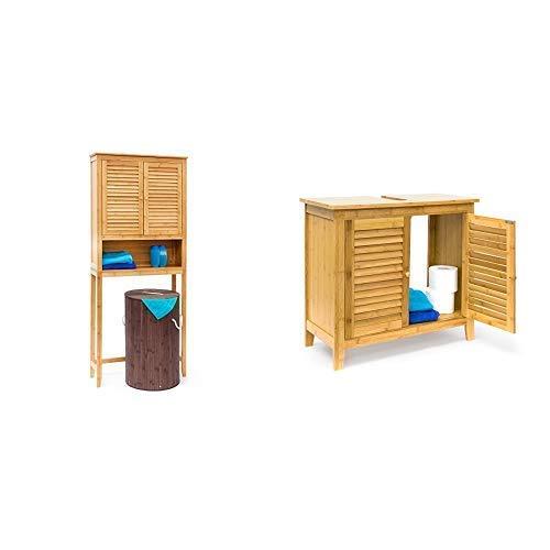 Relaxdays Waschmaschinenschrank LAMELL Bambus, Überschrank, Badschrank mit Flügeltüren, Holz, Ablage&  Waschbeckenunterschrank LAMELL aus Bambus