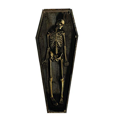 Halloween Fake Casket with Life Size Skeleton Cardboard Standup