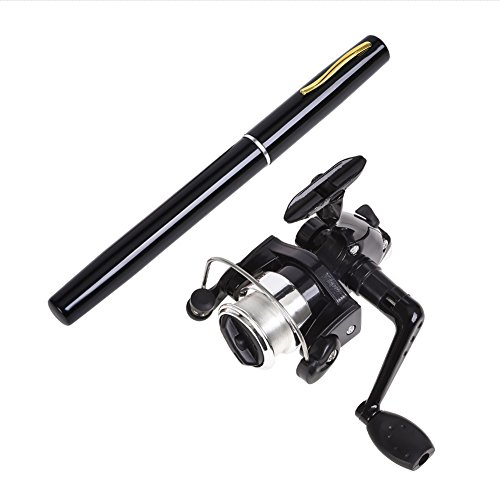 Gooteff 39inch Mini Portable Pocket Aluminum Alloy Fishing Rod Pen and ABS Reel Fish Wheel Set for Outdoor Travel Surf Saltwater Freshwater Bass Boat Fishing (Black)