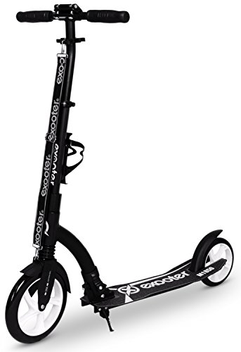 EXOOTER M1850BW Adult Cruiser Kick Scooter with Front Shocks and 240mm/180mm Wheels in Black.
