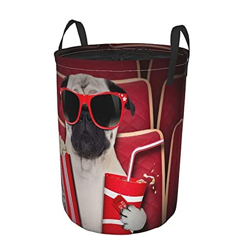 Cesto de lavandería redondo, perro mirando una película en un cine con gaseosas y palomitas de maíz con gafas, cesto de lavandería plegable impermeable con cordón,21.6'X16.5'