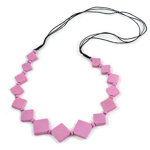 Avalaya Long Lavender Pink Bone Square Bead Black Cotton Cord Necklace - 82cm L