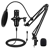USB Podcast Microphone,Tikysky Computer Microphone Kit with Adjustable Scissor Arm Stand Shock Mount, Condenser Gaming Microphone for Streaming YouTube Video Vocal Recording PC Mic