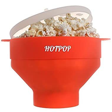 The Original HOTPOP Microwave Popcorn Popper, Silicone Popcorn Maker, Collapsible Bowl BPA Free & Dishwasher Safe (Red)