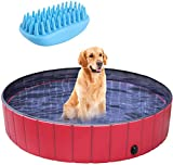 pedy Dog Swimming Pool with Brush, Collapsible Pet Bath Pool Foldable Bathing Tub Kiddie Pool for Dogs Cats and Kids(48' X 12.4')