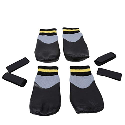 Kissherely 4 Undurchlässig für Wassere Hundesocken Welpen rutschfeste Sneakers Stiefel Socken robuste Stretchschuhe Pfoten schützen Regenstiefel (#6)
