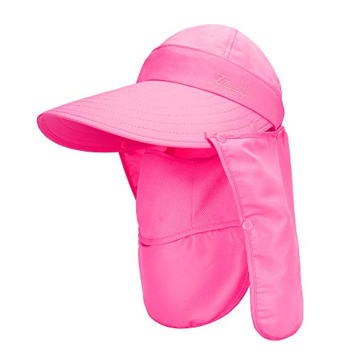 MK Matt KEELY Unisex 3 en 1 sombrero multifuncional para mujer, sombrero de sol para hombre y mujer, ala ancha, plegable, con cubierta frontal desmontable y solapa para el cuello,color rose