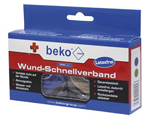 BEKO 2908002 CareLine Wund-Schnellverband Box, 2 Rol. à 4,50 m beige/blau DE/IT/FR/PL/EN