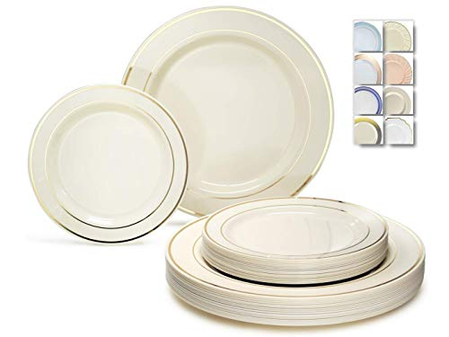 """ OCCASIONS "" 50 Plates Pack (25 Guests)-Heavyweight Wedding Party Disposable Plastic Plate Set -25 x 10.5'' Dinner + 25 x 7.5'' Salad/Dessert plates (Ivory & Gold Rim)"