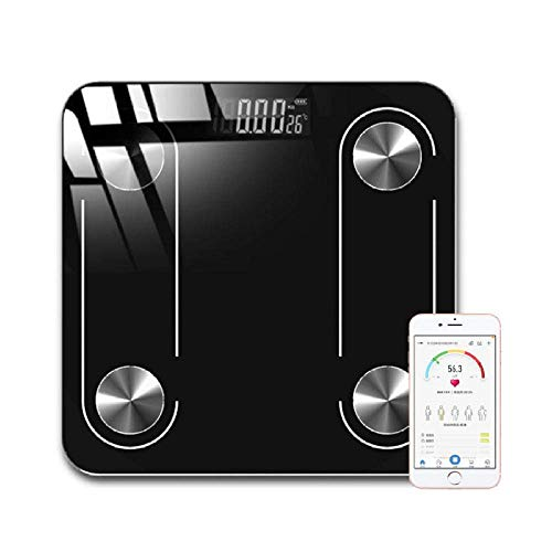 LQH con un Peso de Escala Escalas de Peso Corporal, baño Humano Digital Balanza Báscula Bluetooth con Pantalla LED, 180Kg / 400lb Blanca