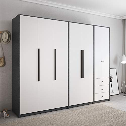 Re Modern Minimalist Nordic Wardrobe Small Apartment Bedroom Home Swing Three Doors Large Cabinet Overall Combination Two Door Wardrobe