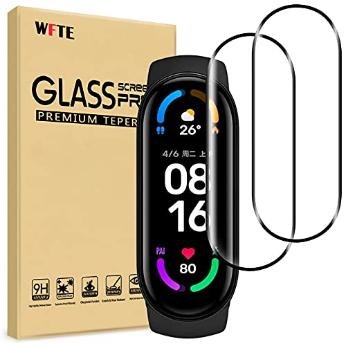 WFTE [2-Pack] Protector de Pantalla para Xiaomi Mi Band 6,Cobertura máxima,9H Dureza,Huellas Dactilares Libre,Sin Burbujas,Cristal Templado Protector de Pantalla Xiaomi Mi Band 6(Black)