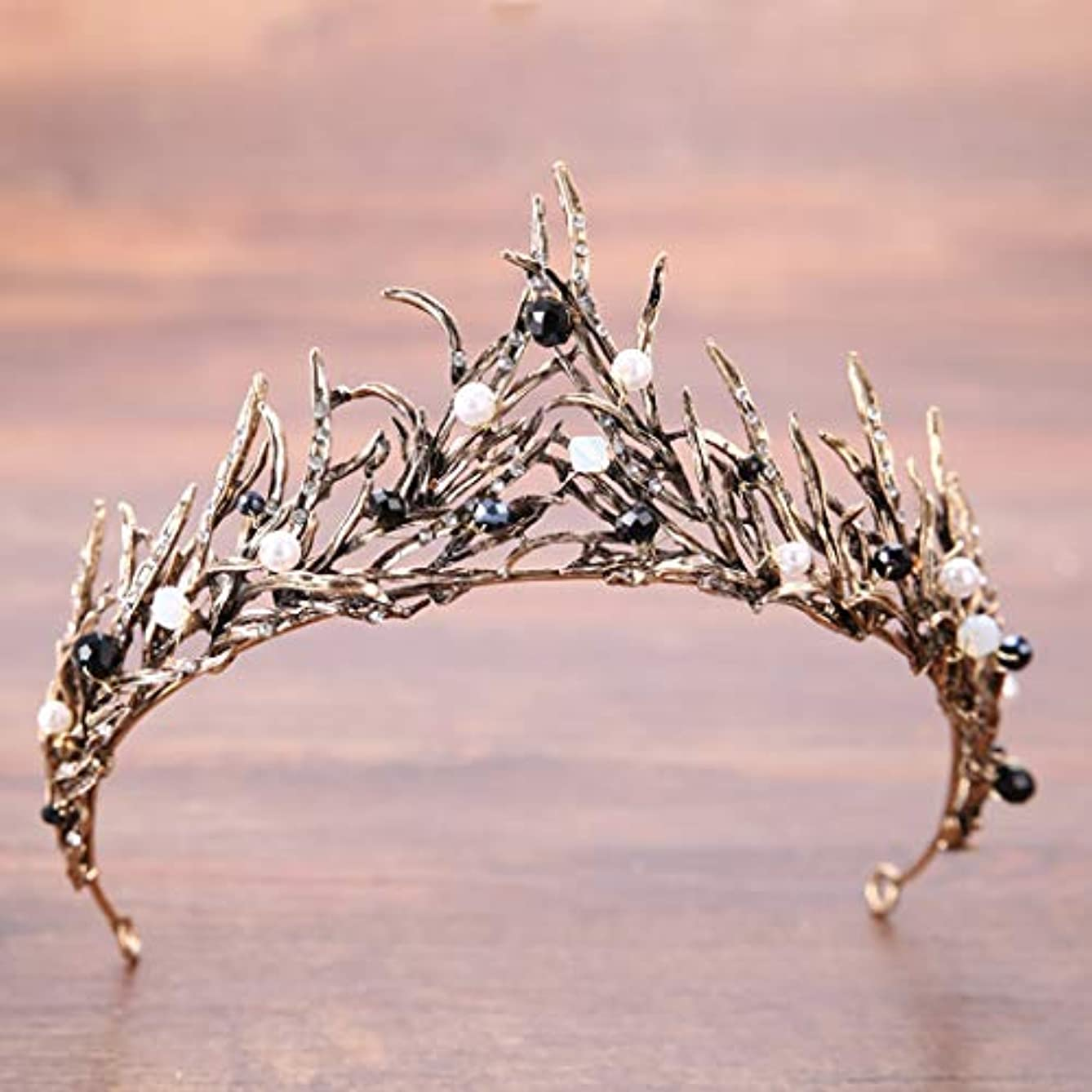 CanB Bride Wedding Queen Flower Crowns and Tiaras Baroque Bridal Hair Accessories for Women (Gold)