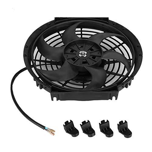 Ventilador de refrigeración: Ventilador de refrigeración eléctrico Universal para Coche de 10 Pulgadas, Accesorios de Motor ultrafinos de Hoja Curva de 12 V y 80 W
