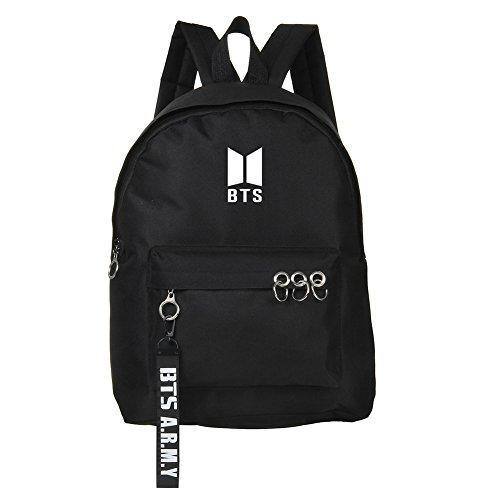 GOTH Perhk BTS Rucksack BTS Bangtan Boys Suga Jin Jimin Jung Kook Daypack Laptoptasche Buch Tasche Mode Eisen Ring Rucksack- BTS Logo(BTS(bk))