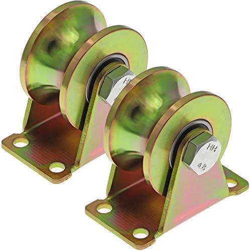 Skelang - 2 ruedas de puerta con ranura en U, rígidas de 50 mm, rodillo de puerta corredera resistente para pista invertida, máquina industrial, puerta rodante, capacidad de carga: 300 kg