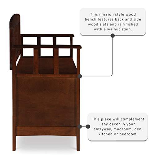 "Product Image 3: Linon Home Dcor Linon Home Decor Cynthia Storage Bench, 50""w x 17.25″d x 32″h, Walnut"