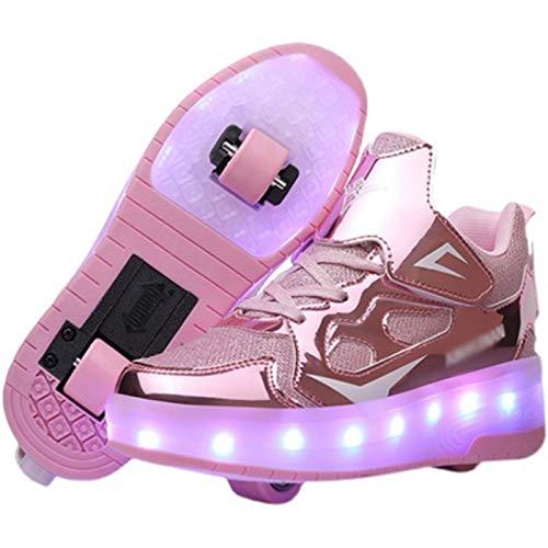 WFSH Unisex-Kinder-Rollschuhe LED leuchtende automatische Teleskop-Technologie Skateboard-Schuhe Multifunktionale Sportarten im Freien Skates Sportschuhe (Color : Pink, Size : 32)